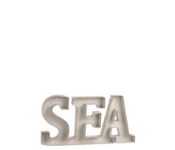 J -Line Decoration Letters Sea Metal - White