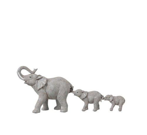 J -Line Decoration Elephants Row Large To Small - Gray