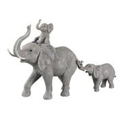 J-Line  Decoration Elephants Child On Back And Tail - Gray