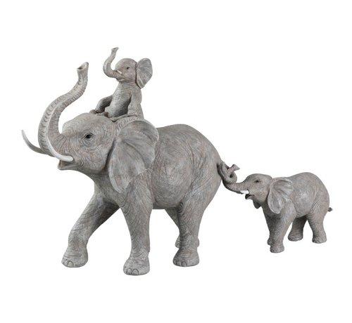 J -Line Decoration Elephants Child On Back And Tail - Gray