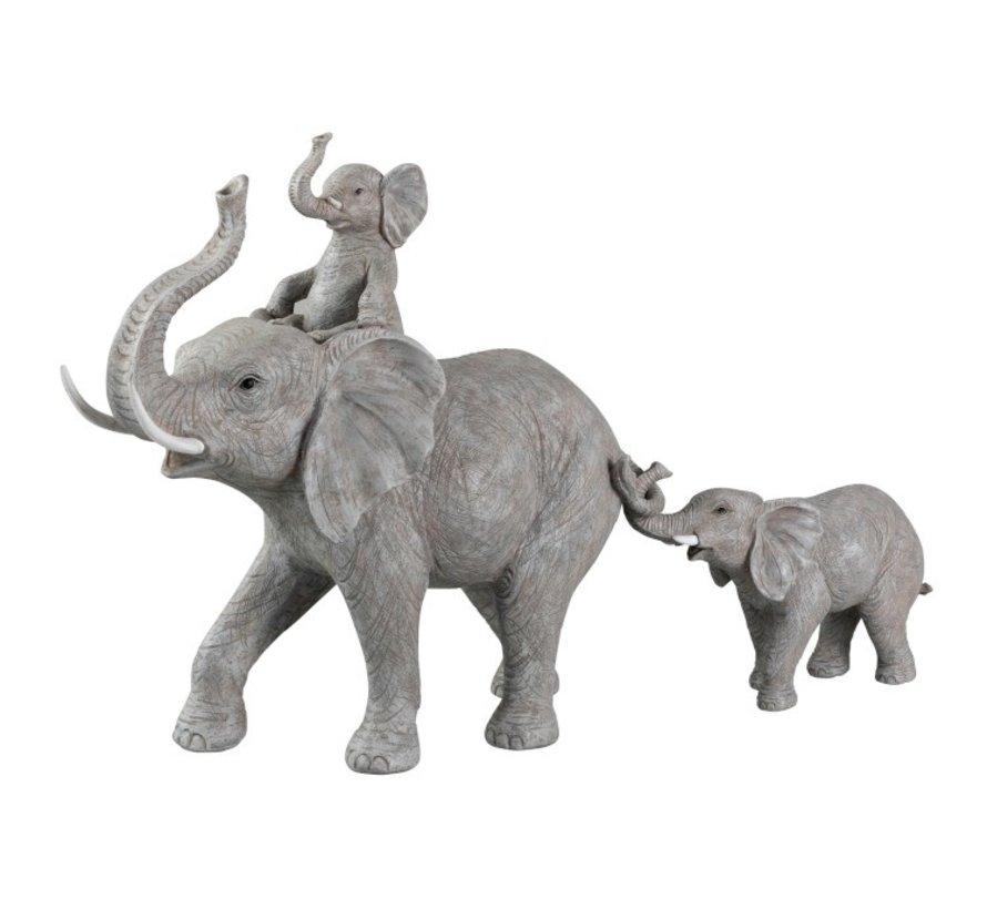 Decoratie Olifanten Kind Op Rug En Staart - Grijs