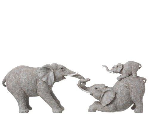 J -Line Decoratie Olifanten Spelend Met Kinderen - Grijs