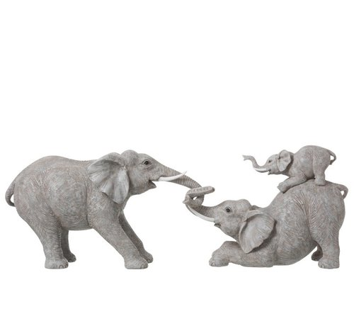 J -Line Decoration Elephants Playing With Children - Gray