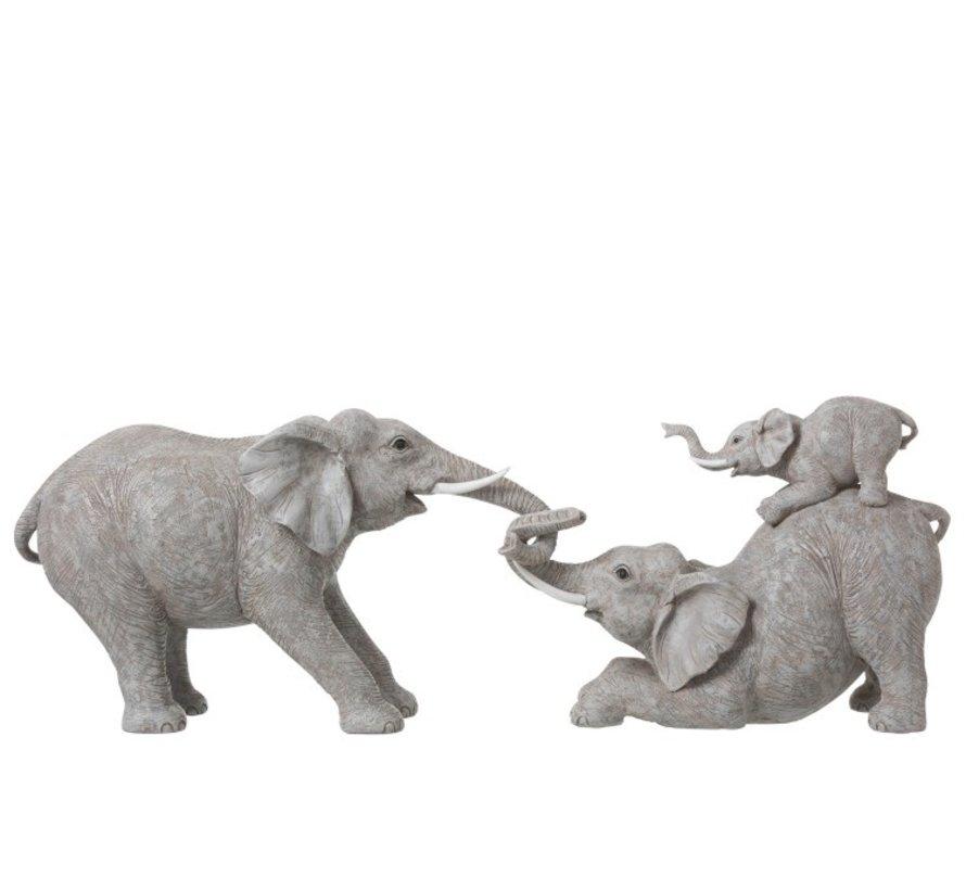 Decoratie Olifanten Spelend Met Kinderen - Grijs