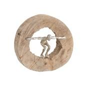 J -Line Decoration Circle Jumping Figure Mango Wood - Silver