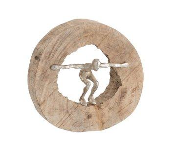 J-Line Decoratie Cirkel Springend Figuur Mangohout - Zilver