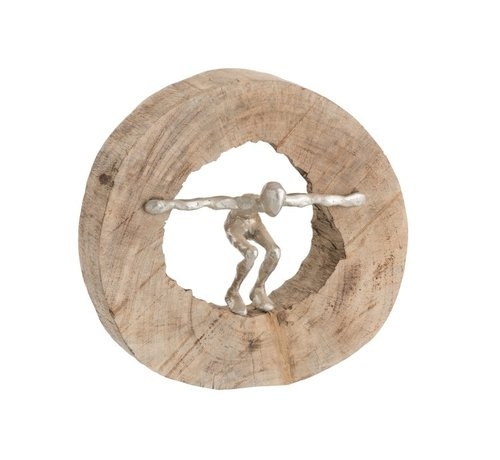 J-Line Decoration Circle Jumping Figure Mango Wood - Silver