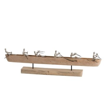 J -Line Decoration Boat On Foot Six Rowers Mango Wood - Silver