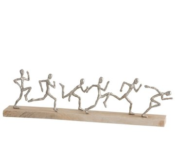 J -Line Decoration Figures Six Runners Mango Wood - Silver