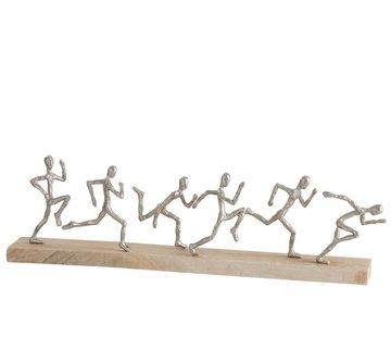 J-Line Decoration Figures Six Runners Mango Wood - Silver