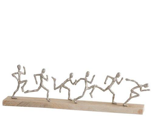J-Line Decoratie Figuren Zes Lopers Mangohout - Zilver