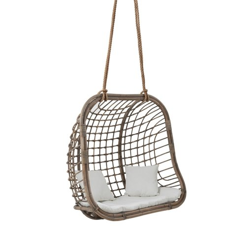 J -Line Hanging Chair Two Persons Rattan Rope - Gray
