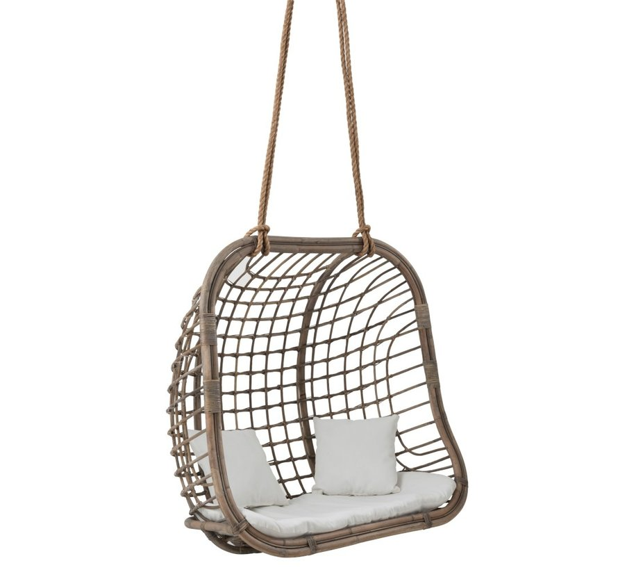 Funny Relax Hangstoel Wit.Hanging Chair Two Persons Rattan Rope Gray Sl Homedecoration Com