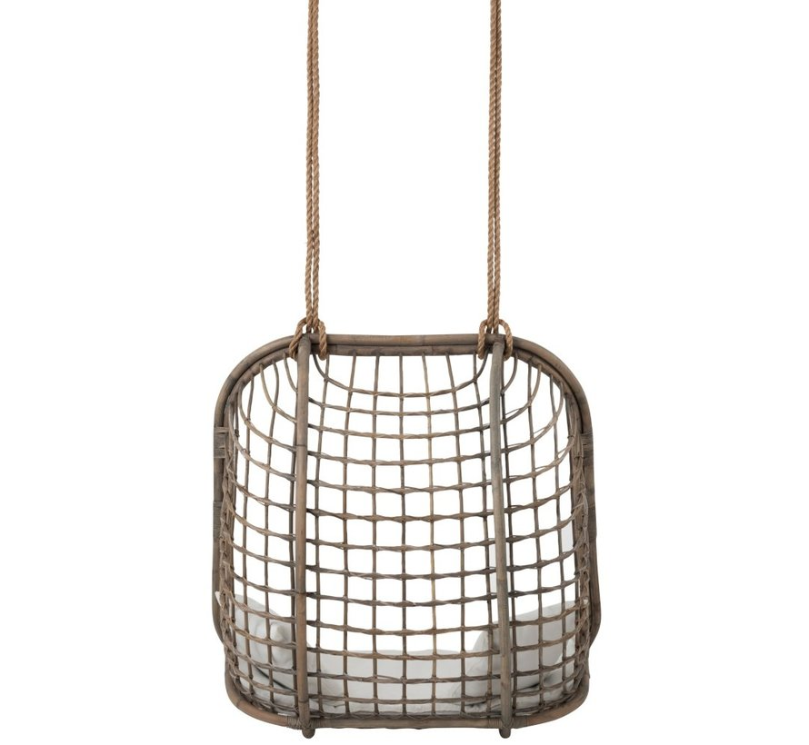 Hanging Chair Two Persons Rattan Rope - Gray