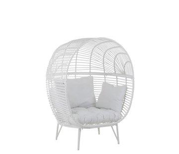 J -Line Loungestoel Ovaal Staal Natuurlijk - Wit