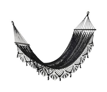 J -Line Hammock crocheted Cotton Handicraft - Black