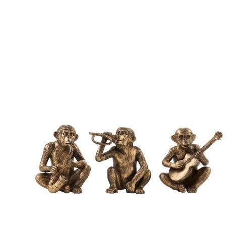 J -Line Decoration Figures Monkeys Music Poly Antique - Gold