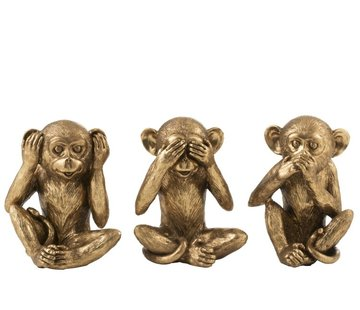 J-Line  Decoration Figures Monkeys Hear See Silence Antique - Gold
