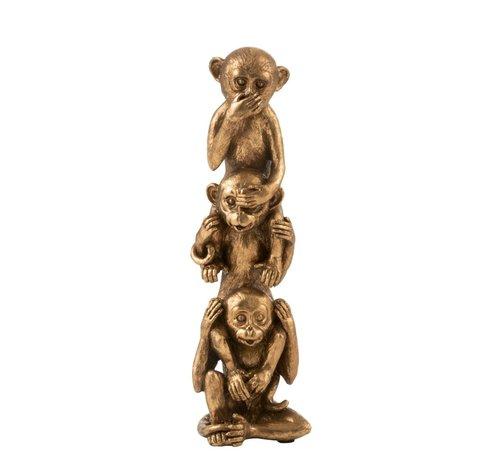 J-Line  Decoration Totem pole Monkeys Hear See Silence Antique - Gold