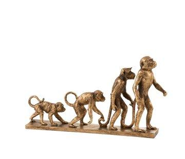J-Line  Decoration Figures Monkeys Evolution On Foot - Gold