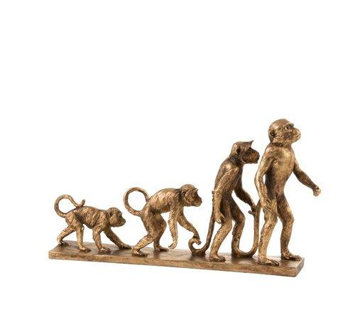 J -Line Decoratie Figuren Apen Evolutie Op Voet - Goud