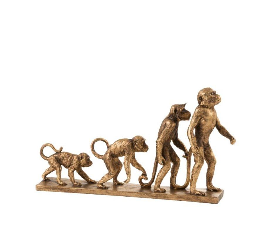 Decoratie Figuren Apen Evolutie Op Voet - Goud