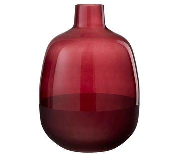 J-Line Flessen Vaas Glas Rond Half Mat Donkerrood - Large