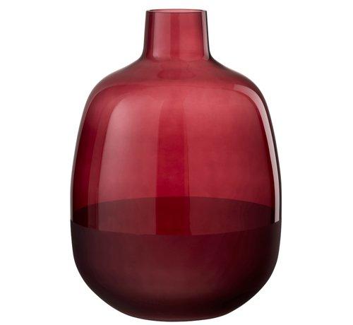 J-Line Bottle Vase Glass Round Half Matt Dark Red - Large