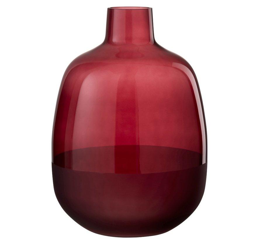 Bottle Vase Glass Round Half Matt Dark Red - Large