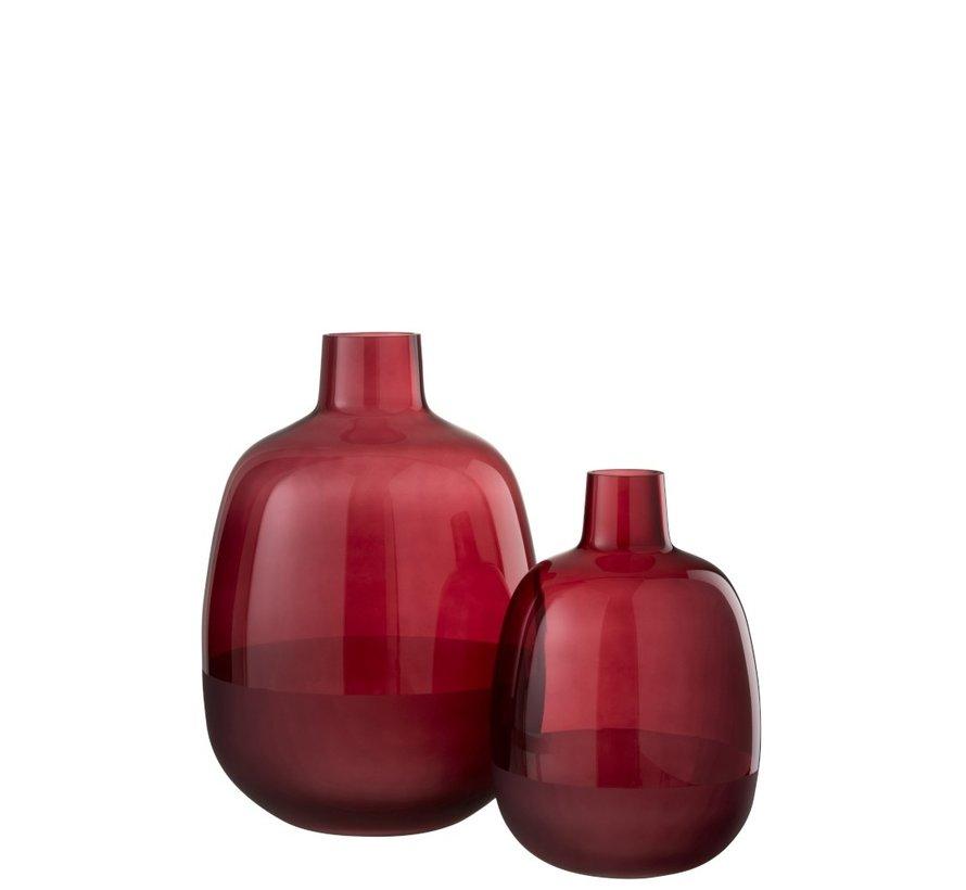 Flessen Vaas Glas Rond Half Mat Donkerrood - Large