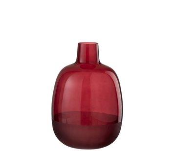 J-Line Bottle Vase Glass Round Half Matt Dark Red - Small