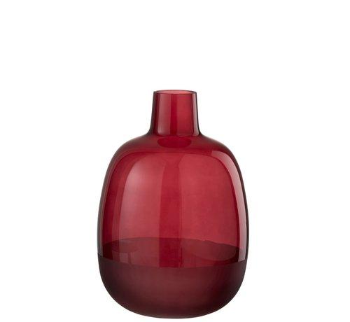 J-Line Flessen Vaas Glas Rond Half Mat Donkerrood - Small