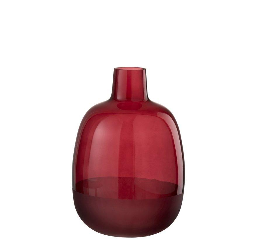 Flessen Vaas Glas Rond Half Mat Donkerrood - Small