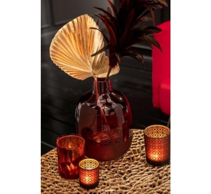 Bottle Vase Glass Round Half Matt Dark Red - Small