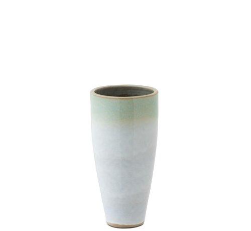 J -Line Vaas Cilinder Hoog Eucalyptus Keramiek Wit Mint - Small