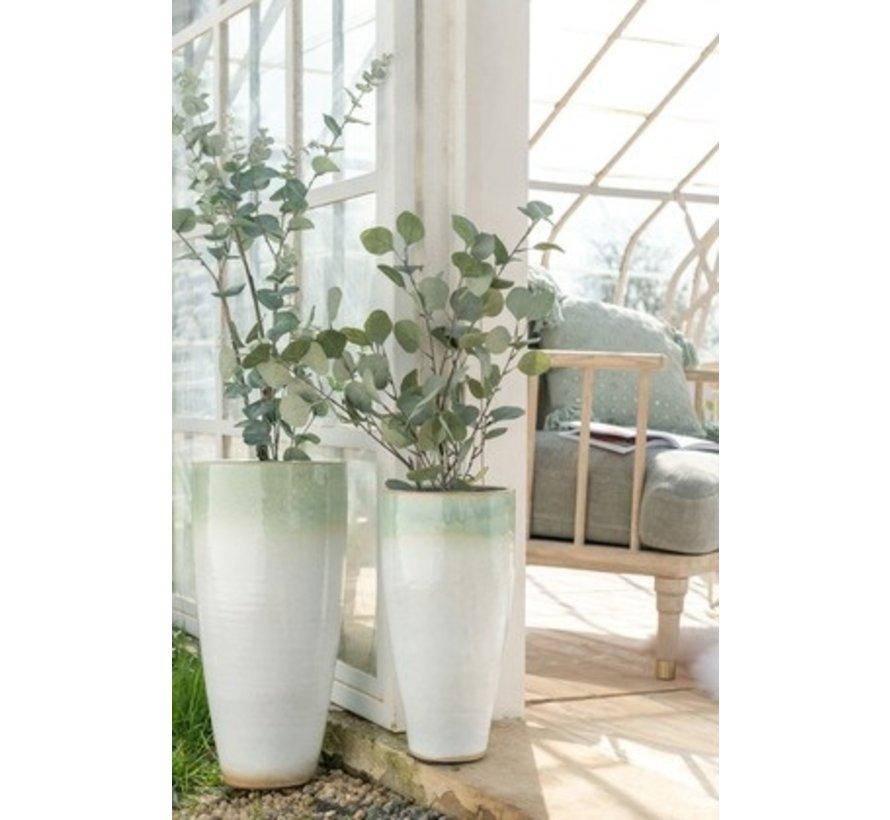 Vaas Cilinder Hoog Eucalyptus Keramiek Wit Mint - Small