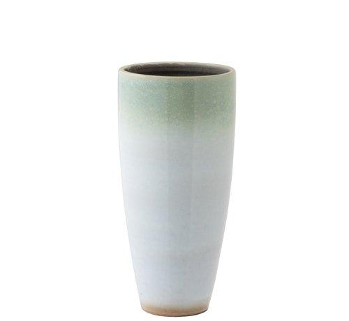 J -Line Vaas Cilinder Hoog Eucalyptus Keramiek Wit Mint - Large