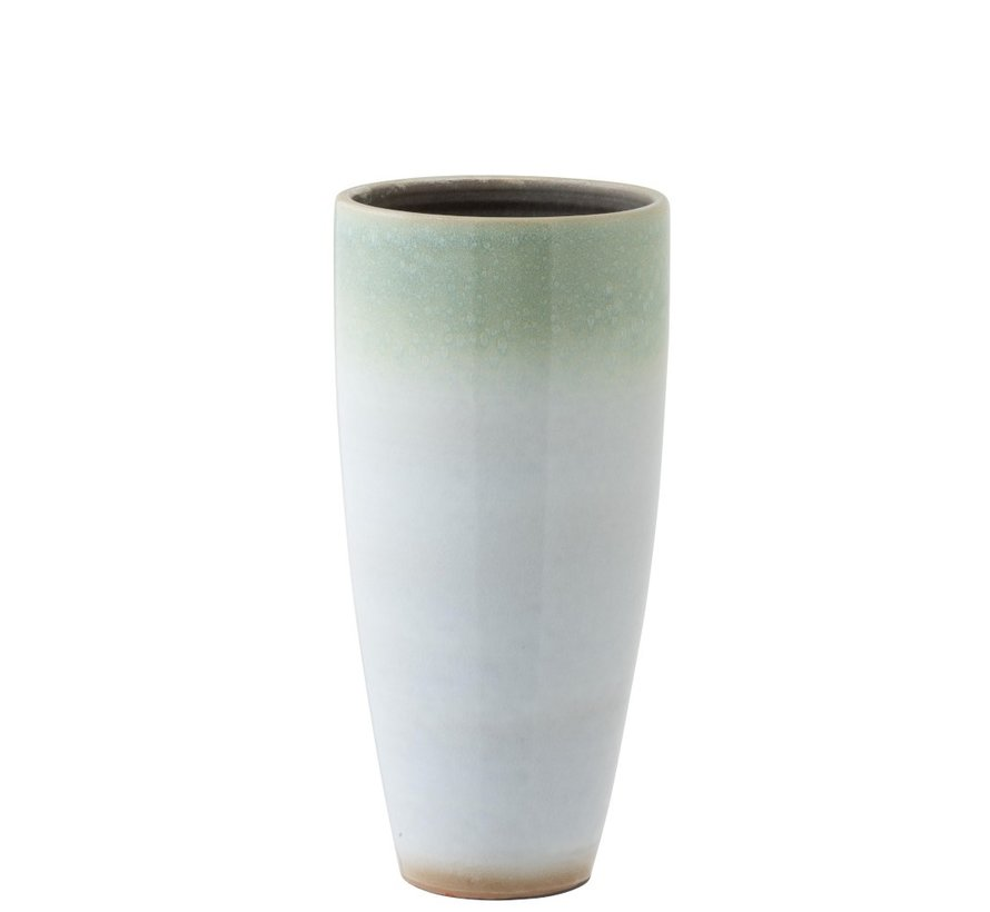 Vaas Cilinder Hoog Eucalyptus Keramiek Wit Mint - Large