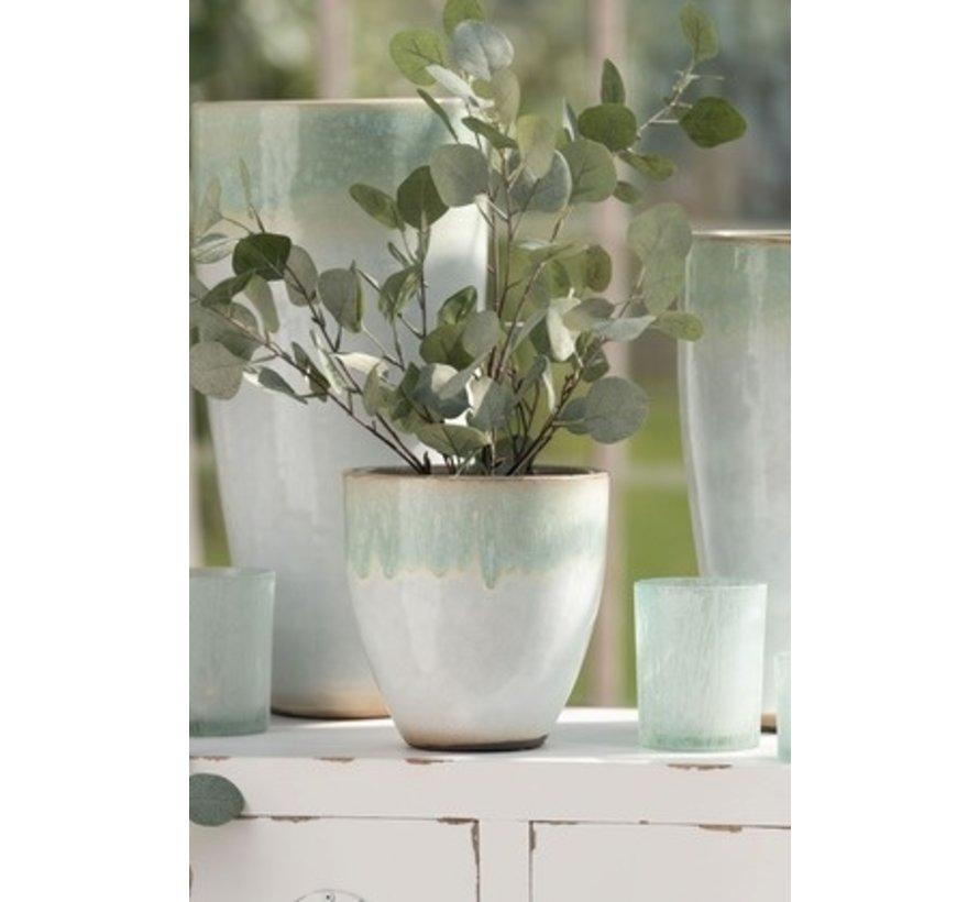 Bloempot Rond Eucalyptus Keramiek Wit Mint - Small