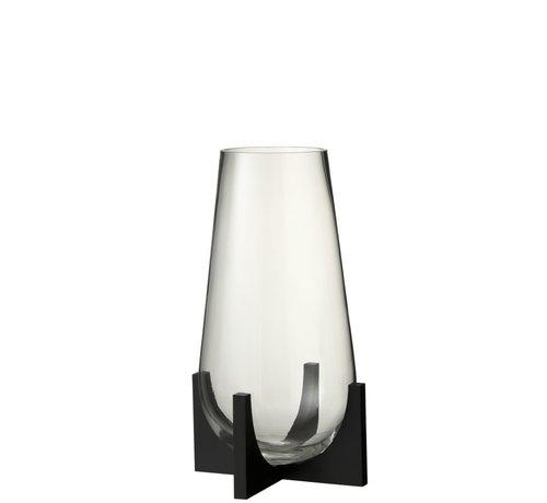 J -Line Vaas Glas Op Voet Conisch Metaal Zwart - Small