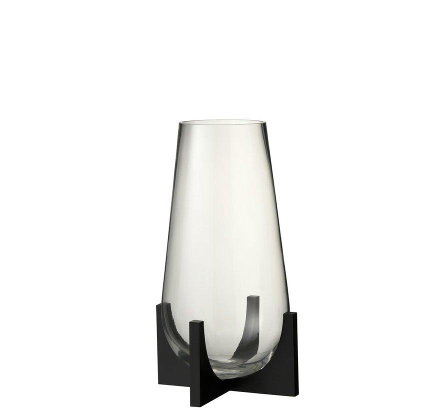 Vaas Glas Op Voet Conisch Metaal Zwart - Small