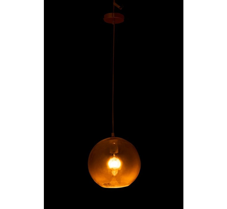 Hanging Lamp Modern Glass Ball Metal Gold - Medium