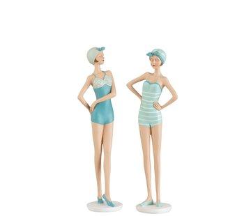 J -Line Decoratie Staande Vrouwen Badpak Jaren 60 Blauw - Wit