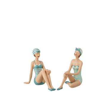 J -Line Decoration Seated Women Swimsuit Sixties Blue - White
