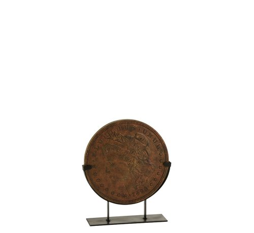 J -Line Decoration Coin On Foot Poly Bronze - Small
