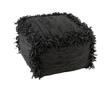 J -Line Pouf Square Crochet Leather Simili Fringes - Black