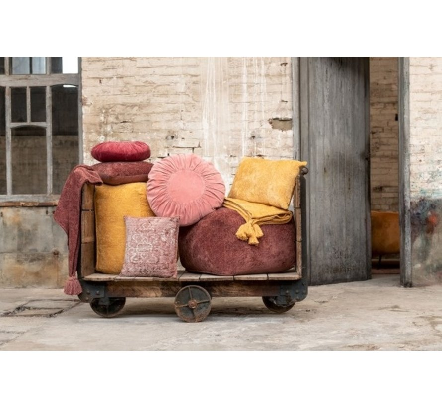 Pouf Square Cotton Ethnic Patterns - Ocher