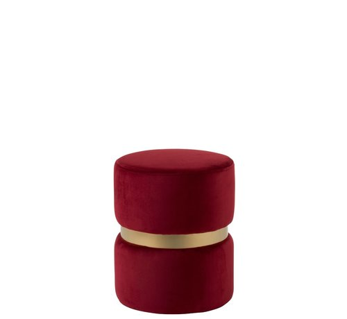 J -Line Pouf Round Luxurious Velvet Red - Gold