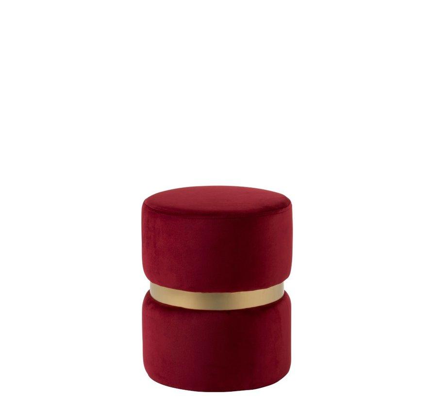 Poef Rond Luxueus Fluweel Rood - Goud