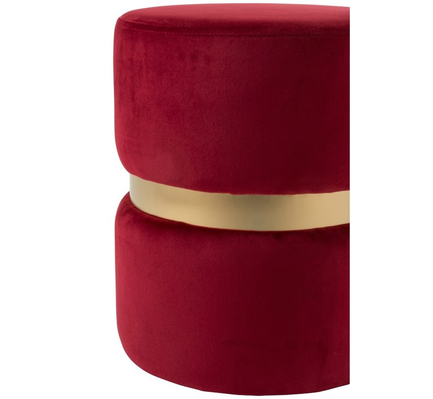 Pouf Round Luxurious Velvet Red - Gold